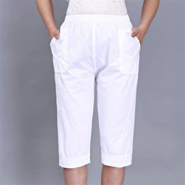 $enCountryForm.capitalKeyWord Australia - Woman Spring Plus Size 100% Cotton Pants Female Summer Oversized Thin Trousers Women Elastic Waist Capris Lady Knee Length Pants MX190716