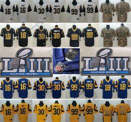 2019 Super Bowl LIII Los Angeles # 30 Todd Gurley II 99 Aaron Donald Cooper Kupp 12 Brandin Cozinheiros 35 C. Anderson Anderson Rams 16 Jared Goff Jerseys