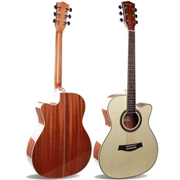 "Guitar Acoustic Tone NZ - Cheap Wholesale 40"" Acoustic Guitar A-Grade Spruce Top, Sapele Back Side,Folk Guitar, High gloss, Mellow Tone"