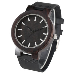 $enCountryForm.capitalKeyWord Australia - Fashion Quartz Watch for Women Men Timekeeper Casual Leather Strap Wooden Watches Delicate Large Ebony Dial Wristwatch