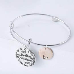 Happy days plates online shopping - Hot Two tone quot Be quot Happy Charm Bracelets Charms Bangle Be Friend Brave Happy Strong Bangles Jewelry Hot sell