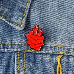 Chinese  High Quality Heart Enamel Pin Red arm hand composition Brooch Mutual hug snuggle lapel denim Badge Warm creative Jewelry Unity help eachothe manufacturers