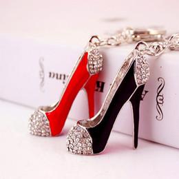 $enCountryForm.capitalKeyWord NZ - Fashion Lady Red Black High Heel Shoe Pendant Shiny Rhinestone Crystal Alloy Bag Car Charm Key Ring