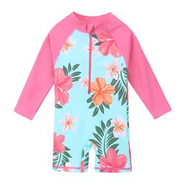 Infant Lowers Australia - Baohulu Upf50+ Print Children Swimwear Long Sleeve Baby Girl Swimsuit One Piece Toddler Infant Bathing Suit For Girls Boy Kids Y19051801