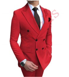 Double breasteD peak lapel tuxeDo online shopping - Handsome Groomsmen Peak Lapel Groom Tuxedos Mens Wedding Dress Man Jacket Blazer Prom Dinner Piece Suit Jacket Pants Tie