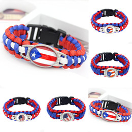 $enCountryForm.capitalKeyWord Australia - 20pc American Flag Of Puerto Rico Paracord Survival Outdoor Camping Bracelets For Women Men Friendship Rope Red Bracelet Jewelry