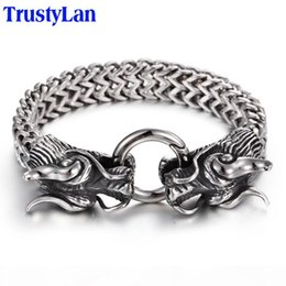bangle silver dragon Australia - TrustyLan Vintage Stainless Steel Men Bracelet Cool Double Dragon Head Male Jewelry Accessory Cool Mens Bangle Wristband 225MM Y1891908