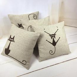 Black Cat Decor Australia - Universal Fashion Popular Vintage Black Cat Square Pillowcase Cotton Linen Throw Pillow Case Sofa Cushion Cover Home Car Decor