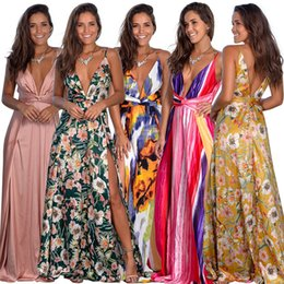 Wholesale high slit backless maxi dress resale online – 9 Color Available Summer Beach New Women Deep V neck Spaghetti Straps Backless High Side Slits Floral Printed Maxi Long Dress