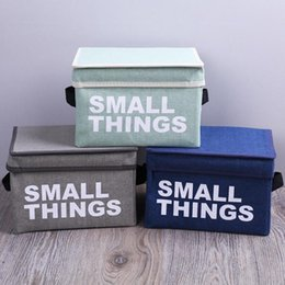 Toy Clothing Australia - Portable Letter Print Cotton Linen Foldable Storage Bag Folding Clothes Storage Baskets Box Cloth Toy Snack Storage Box Small BC BH0801