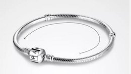 23cm Silver Bracelets Australia - PAN 3mm 16-23cm 925 Silver Plated Bracelet Chain with Barrel Clasp Fit European Beads Pan Bracelet wholesale Snake Chain