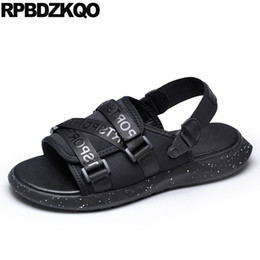 designer japanese shoes breathable waterproof strap casual fashion black flat  native beach mens sandals 2018 summer outdoor fac60afce681