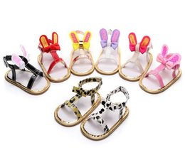 BaBy infant girl summer sandals online shopping - Baby Girl Rabbit Ear Sandals PU Bowknot Casual Summer Sandals Prewalkers Soft Sole Newborn Infant Shoes