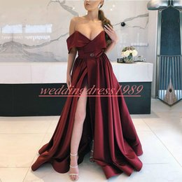 b01023e6b92e Cheap formal ChoColate dresses online shopping - Sexy Split Burgundy  Evening Dresses Formal Wear Off Shoulder