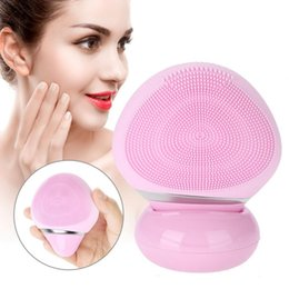 Discount electric silicone massage - Mini Electric Facial Cleanser Massage Silicone Ultrasonic face Pore cleaning Cleaner Skin Care Washing Face Brush Device