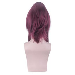 Net Games NZ - Factory price 1pc Women Fashion Lady Dark Red Anime Medium Rose Net Wigs 21.7 inches Game Cosplay Wigs Stand Stocked Feb20