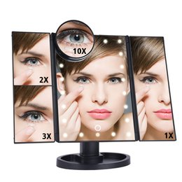 magnifying table NZ - 1X 2X 3X 10X Makeup Mirror LED Touch Screen Light Magnifying 22LEDs Folding Table Desktop Vanity Mirrors w Light Folding Mirror CX200630