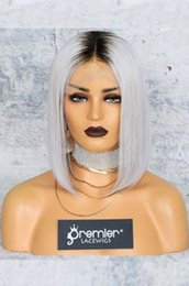 $enCountryForm.capitalKeyWord NZ - Human Hair Lace Front Wigs Ombre Gray Brazilian Remy Hair Silk Straight With Preplucked Bleached Knots Natural Hairline