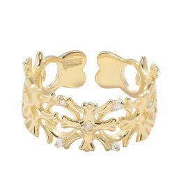 $enCountryForm.capitalKeyWord UK - 925 Silver Flash Drill Hollow Cross Opening Ring Individual Fashion Network Hong Kong Wind Ring Korean version of women's simplicity