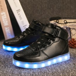 Girls hiGh top sneakers kids online shopping - LED Light Up Shoes Gold High Top girls and boys luces dorado Fashion USB Charge Red kids Casual Luminous sneakers for childrenMX190919