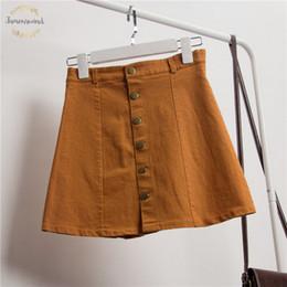 Girl jeans hiGh waist online shopping - Summer Women Skirts A Line Jeans Skirt Button High Waist Female Denim Vintage Polyester Casual Slim Korean Skirt Girls