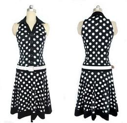 $enCountryForm.capitalKeyWord NZ - New Fashion Dress Women 2019 Big Size Summer Dress Women Fashion Polka Dot Sleeveless V-neck Print Dress Ladies Black White Dresses Feminine