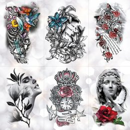$enCountryForm.capitalKeyWord Australia - Love Crown Rose Blue Lily Flower Waterproof Temporary Tattoo Sticker Pigeon Angel Flash Arm Tattoos Body Art Fake Tatoo