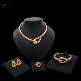 indian gift boxes NZ - Yulaili Free Delivery Simple Design Necklace Bracelet Earrings Ring Four Jewelry Set for Ladies Beautiful For Women Party Free Gift Box