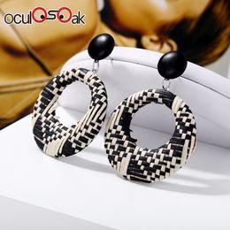 $enCountryForm.capitalKeyWord Australia - Fashion Geometric Round Drop Earring For Women Rattan Weave Braided Statement Dangle Earrings Brincos Jewelry 2019 New