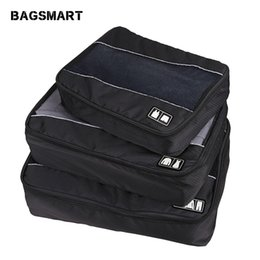 red black grey shirts Canada - BAGSMART 3 Pcs Nylon Unisex Packing Cubes For Clothes Lightweight Luggage Travel Bag For Shirts Waterproof Duffle Bag Organizers
