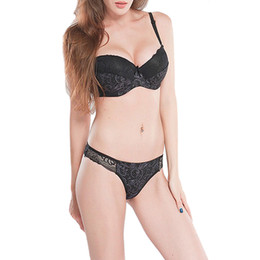 c329643140933 New black bra set sexy lingerie embroidery print lace bralette underwire  panties 34 36 38 40 42 B C D DD E Bras sets For Women