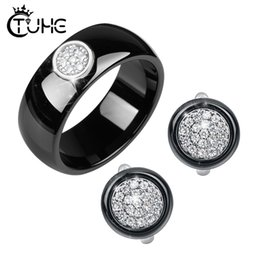 ceramic studs UK - ashion Jewelry Elegant Formal Dress Jewelry Sets Circle Shape CZ Rhinestone Never Fade Ceramic Rings Stud Earrings Jewlery Sets Christm...