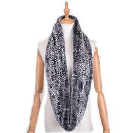 Pink rabbit fur scarf online shopping - Genuine Rex Rabbit Fur Scarf Loop type Hand Knit Infinite Scarves Women Real Rabbit Fur Shawl