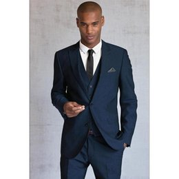 Discount best party dress image man - Hot -- Navy Blue Groom Tuxedos Peak Lapel Two Button Men Wedding Dress Best Popular Men Business Prom Party Suit(Jacket+