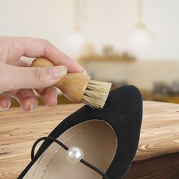 polishing hair UK - Shoes Brush Shoes Shine Pig Hair Brush Polish Bristle Brushes