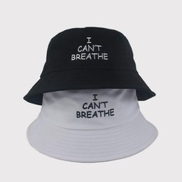 Discount orange hunting hats High Quality Black White Travel Sports Headwear Caps Hats I Can't Breathe Fashion Letter Printed Wide Brim Summer C
