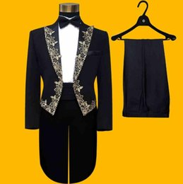 $enCountryForm.capitalKeyWord Australia - (Jacket+Pants+Bowtie) Fashion Brand Mens suits Tuxedos Tailcoat Male Wedding Slim Blazers Prom Groom Black Embroidered Suit