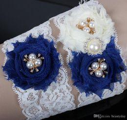 Cheap Wholesale Pearl Sets Australia - Bridal Garters 2 Pieces Set Blue Bridal Garter Set Flowers Rhinestones Pearls Crystals Vintage Lace Wedding Bridal Leg Garters Cheap
