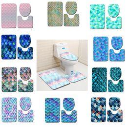 Tapis de bain imprimés en écailles de poisson 3pcs / set Tapis protecteurs anti-dérapants pour la salle de bains Tapis de sol pour tapis de bains Tapis GGA2232 en Solde