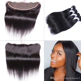 wholesale hair color dye NZ - Brazilian Straight Human Virgin Hair Weaves with 13x4 Lace Frontal Ear to Ear Full Head Natural Color Can be Dyed Unprocessed Human Hair