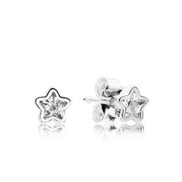 $enCountryForm.capitalKeyWord Australia - Clear Crystal Shining stars Stud Earring with Original Box set for Pandora 925 Sterling Silver Earring for Girls