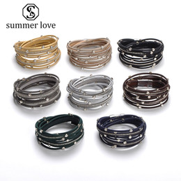 Gold chain link wrap bracelet online shopping - New Multilayer Magnetic Buckle Leather Wrap Bracelet for Women Men Fashion Crystal Braided Handmade Open Cuff Bracelets Trendy Jewelry