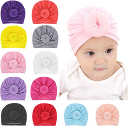 IndIa hottest online shopping - HOT Baby Turban Toddler Kids Boy Girl India Hat Lovely Soft Cotton Cap Candy Solid newborn photography props Spring Child Beanie style