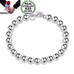 $enCountryForm.capitalKeyWord Australia - OMHXZJ Wholesale Personality Fashion Woman Girl Party Gift Silver 8mm Hollow Beads Chain 925 Sterling Silver Bracelet BR04