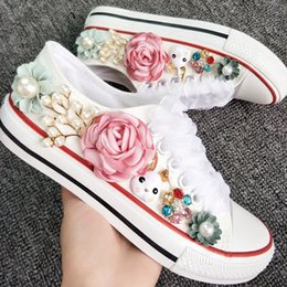 pearl flats NZ - Rustic Wedding Shoes Women Handmade Rabbit Flowers Pearls Sneakers Country Bridal flat Shoes Canvas plimsoll bridesmaid Sneaker shoes