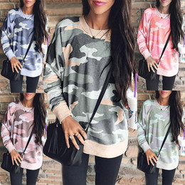 Wholesale women s camo hoodies for sale – custom Women Camouflage Hoodie Autumn long sleeves striped pullover Casual weatshirts Tops Clothes T shirt shirts Camo Tee LJJA3164