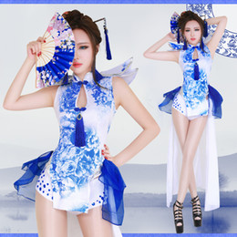 Wholesale belly dancing costumes blue resale online - vintage blue and white porcelain cheongsam female singer dance bar ds show costumes