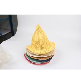 baby cotton sunhats UK - 2019 Fashion Baby Girl Summer Sunhat Beach Floppy Hat Wide Large Brim Straw Natural Sun Hat Pointed Tip Cap New