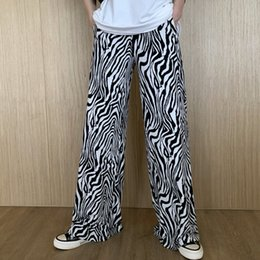 legging korea Australia - [EWQ] 2020 Summer new Joggers Sweatpants Vintage High Waist Straight zebra pattern Trousers korea casual Wide Leg Pants QV60700