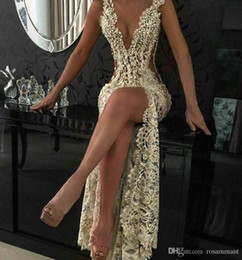 sexy back club pearls Australia - Gold Sexy See Through Full Lace Deep V-Neck 2019 Mermaid Evening Dresses Beads Pearls Front Split Sleeveless Prom Party Dresses Evening Wear